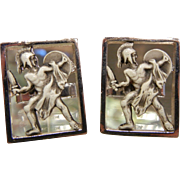 Vintage SWANK Signed Gladiator Cuff Links