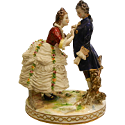 Antique Signed German Porcelain Couple Figurine