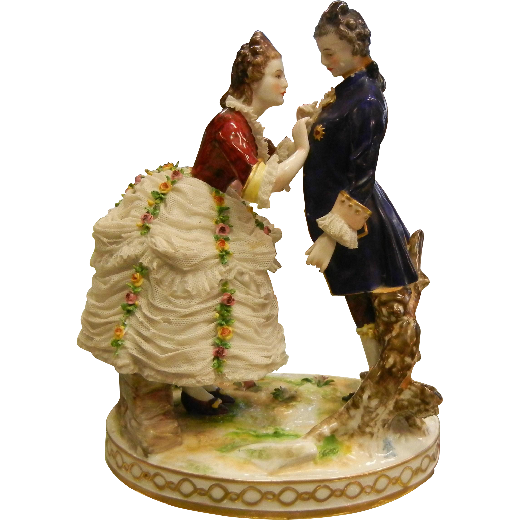 Antique Signed German Porcelain Couple Figurine