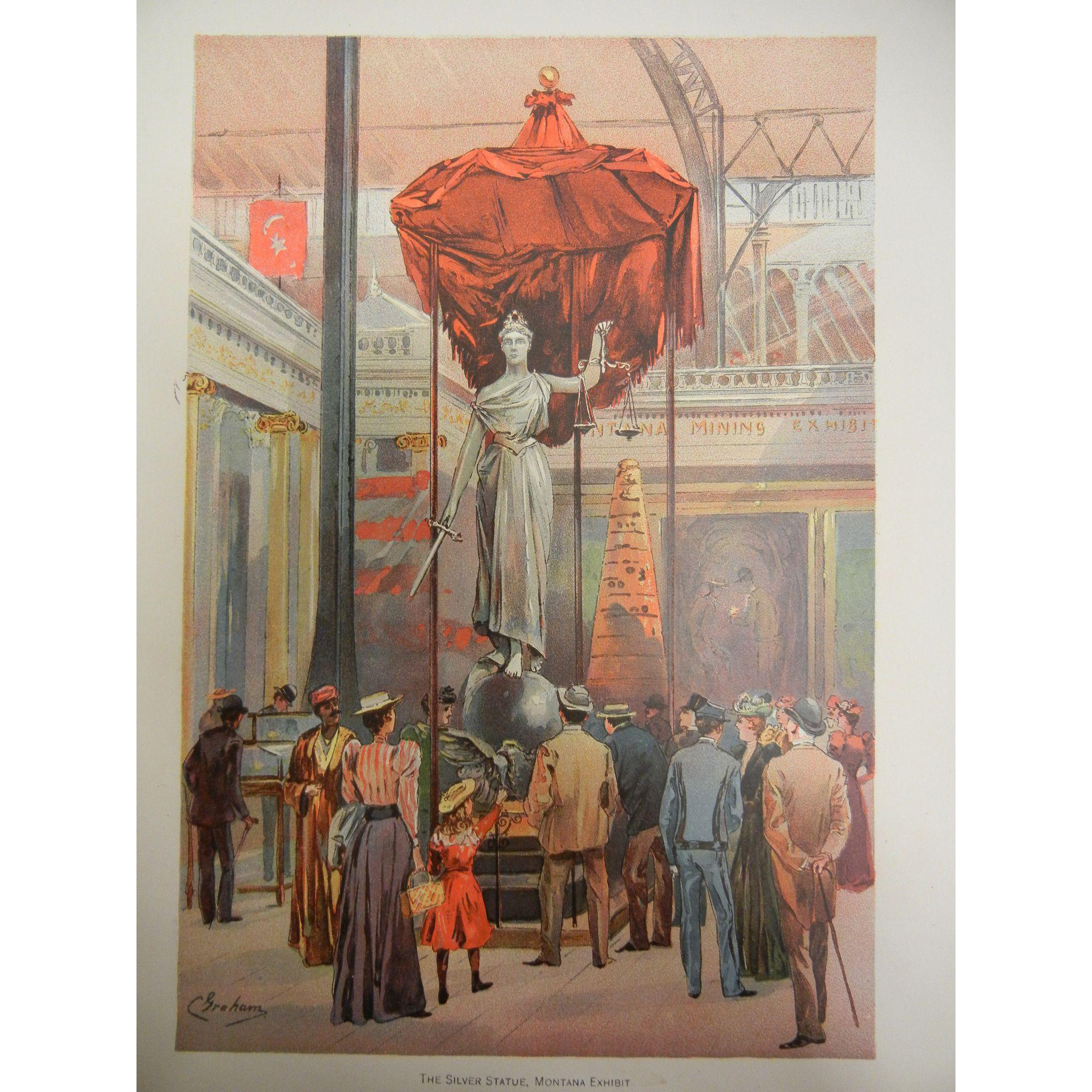 """Fine Chromolithograph The World's Fair in Watercolors - """"The Silver Statue, Montana Exhibit"""" by C. Graham"""