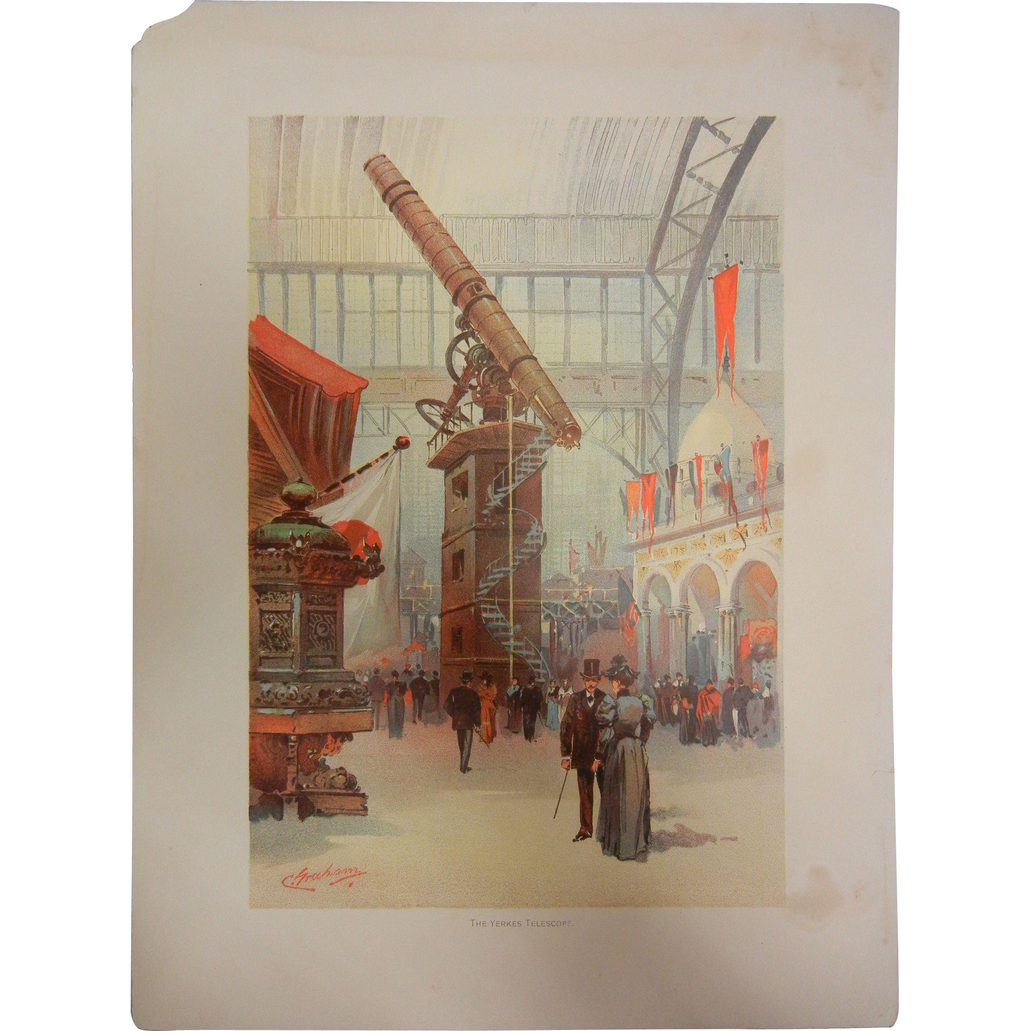 "Fine Chromolithograph The World's Fair in Watercolors - ""The Yerkes Telescope"" by C. Graham"