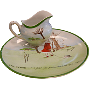 "Vintage Hand Painted Plate & Creamer Set H & Co. Bavaria - ""THE WIND - I Felt You Push, I Heard You Call"""