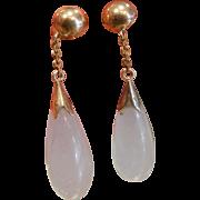 Very Fine 14K Gold Natural Lavender Jade Drop Earrings