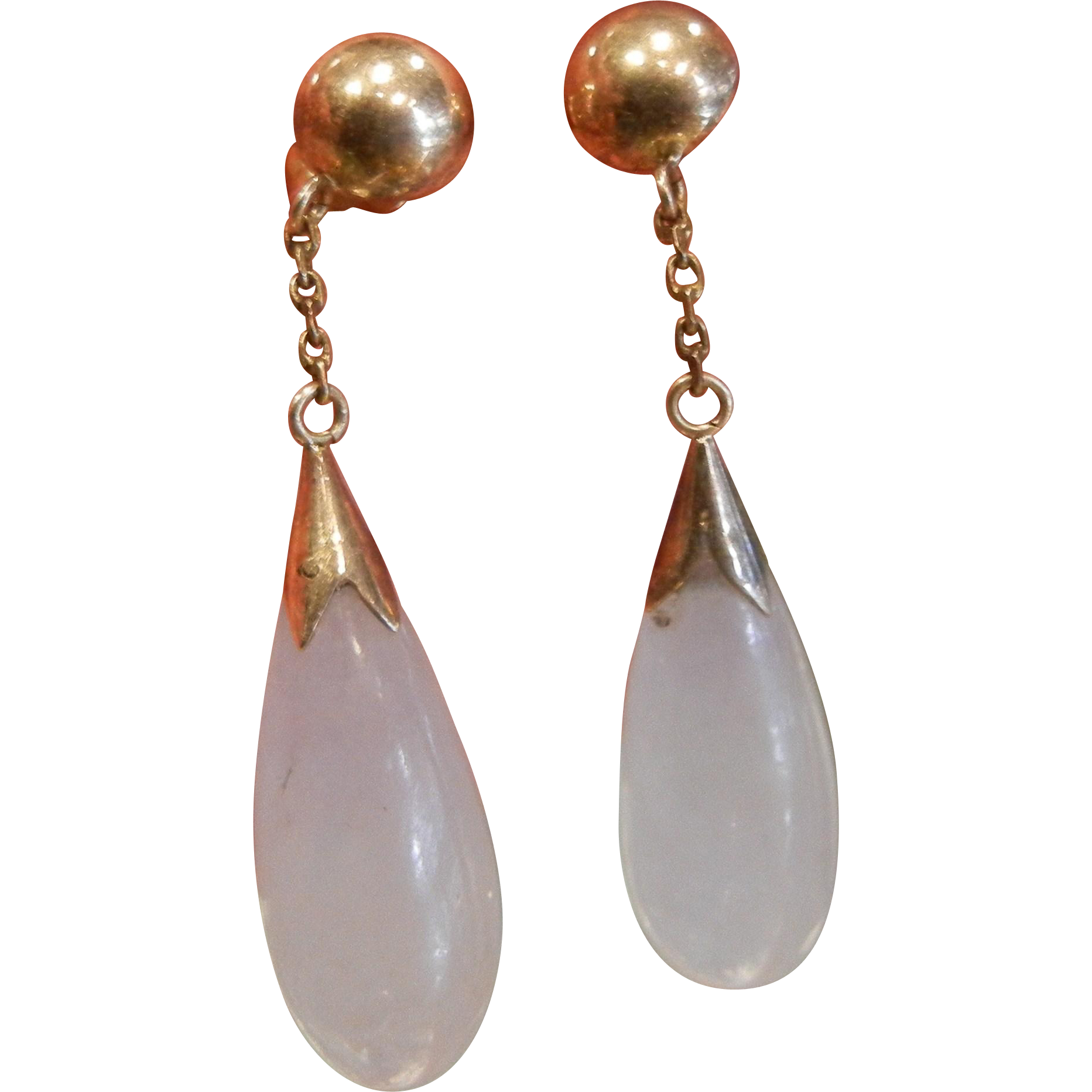 Very Fine 14K Gold Natural Lavender Jade Drop Earrings