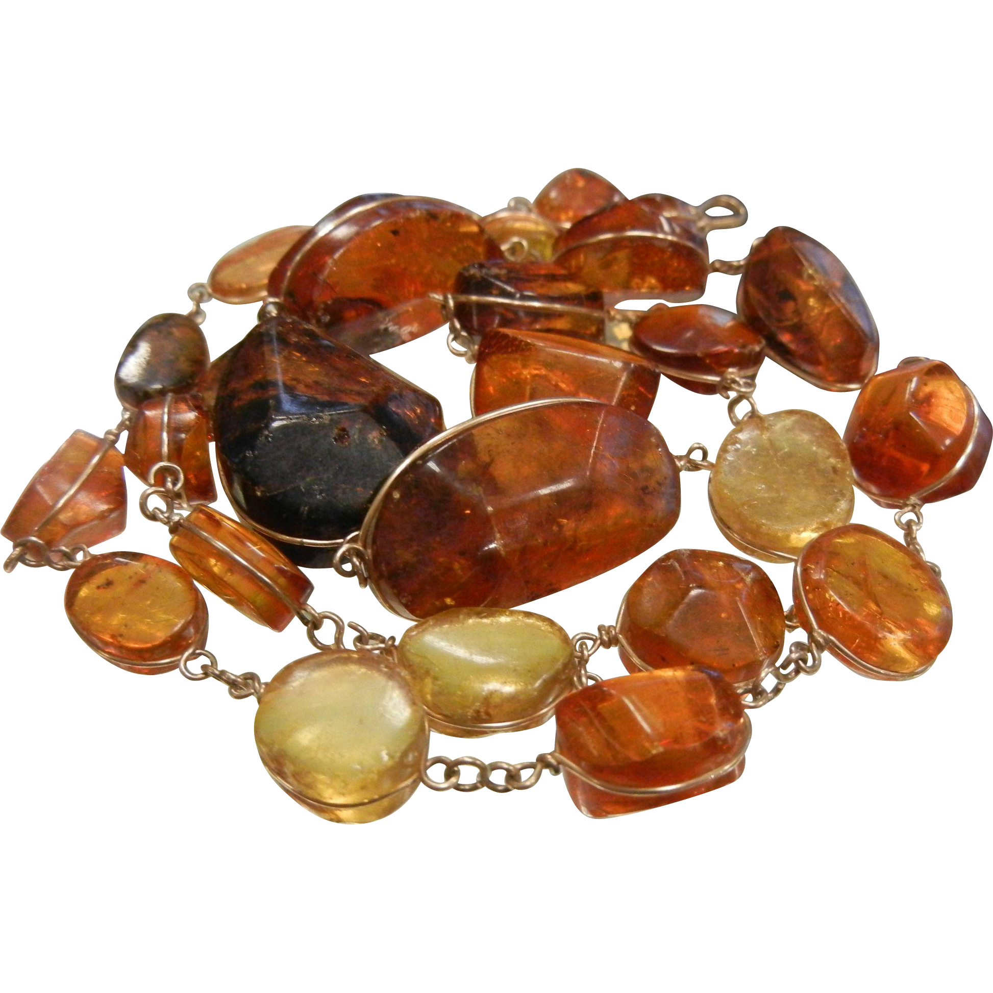 Vintage Graduated Wire Wrapped Natural Amber Nugget Necklace
