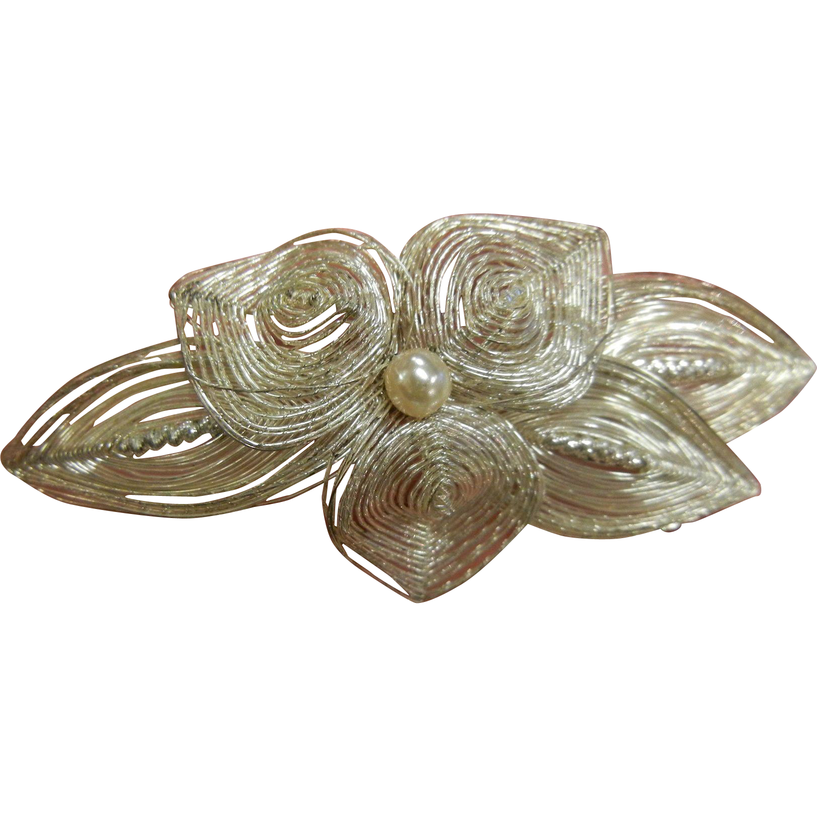 Silver Wire Hand Wrapped Floral Brooch