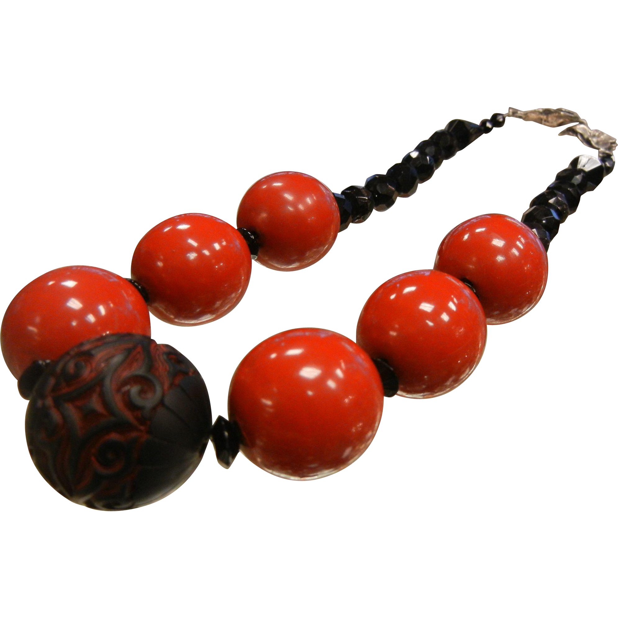 Unique Red & Black Chunky Beaded Necklace