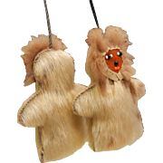 Vintage Hand Crafted Eskimo Fur Doll  Necklace - Red Tag Sale Item
