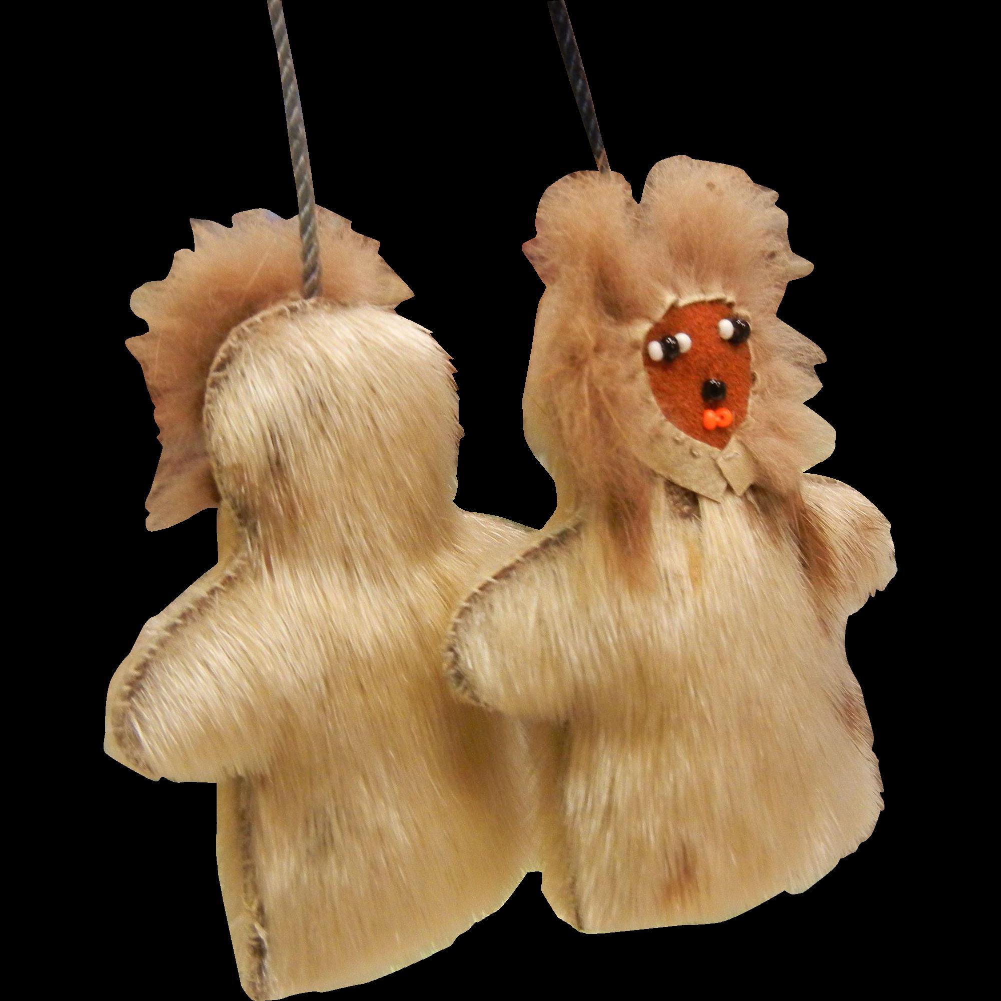 Vintage Hand Crafted Eskimo Fur Doll  Necklace