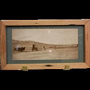 Vintage Framed Original B&W Panoramic Photograph - West Knee J.B. Long Sheep Shed 1906-1907