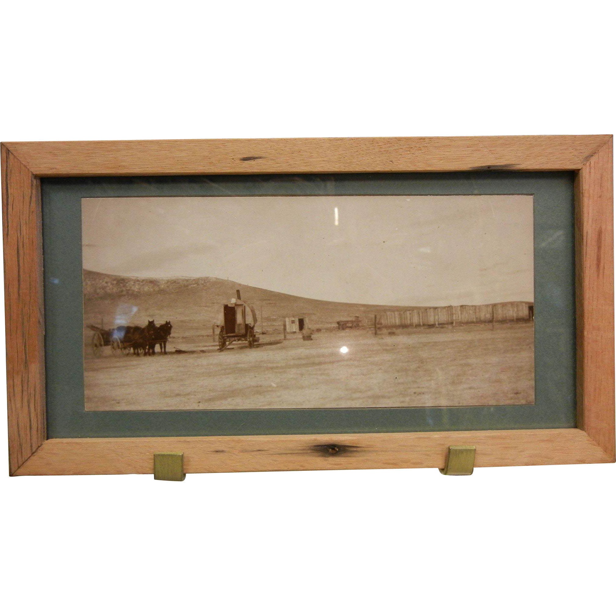 Vintage Framed Original B&W Panoramic Photograph - West Knee J.B. Long Sheep Shed 1906-1907