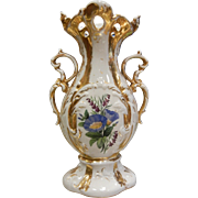 "Signed Gold Gilded  Porcelain Vase  Painted Flowers ""SPM"""
