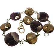 Natural Amethyst & Smokey Quartz Bead Bracelet