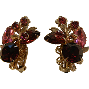 Vintage Costume Jewelry Clip Earrings w/ Pink & Red Rhinestones