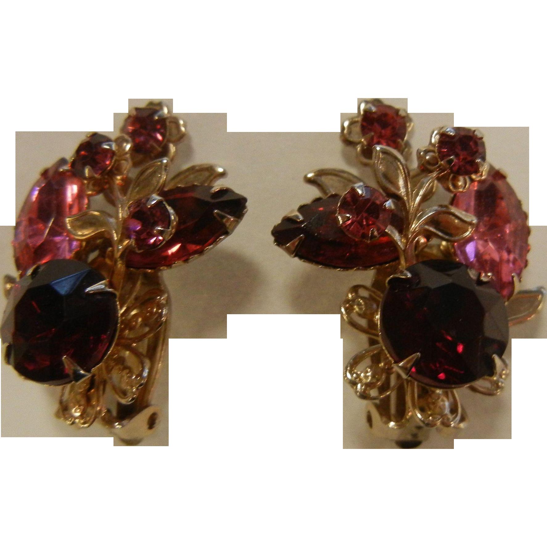 Vintage Costume Jewelry Clip Earrings w/ Pink & Red Rhinestones