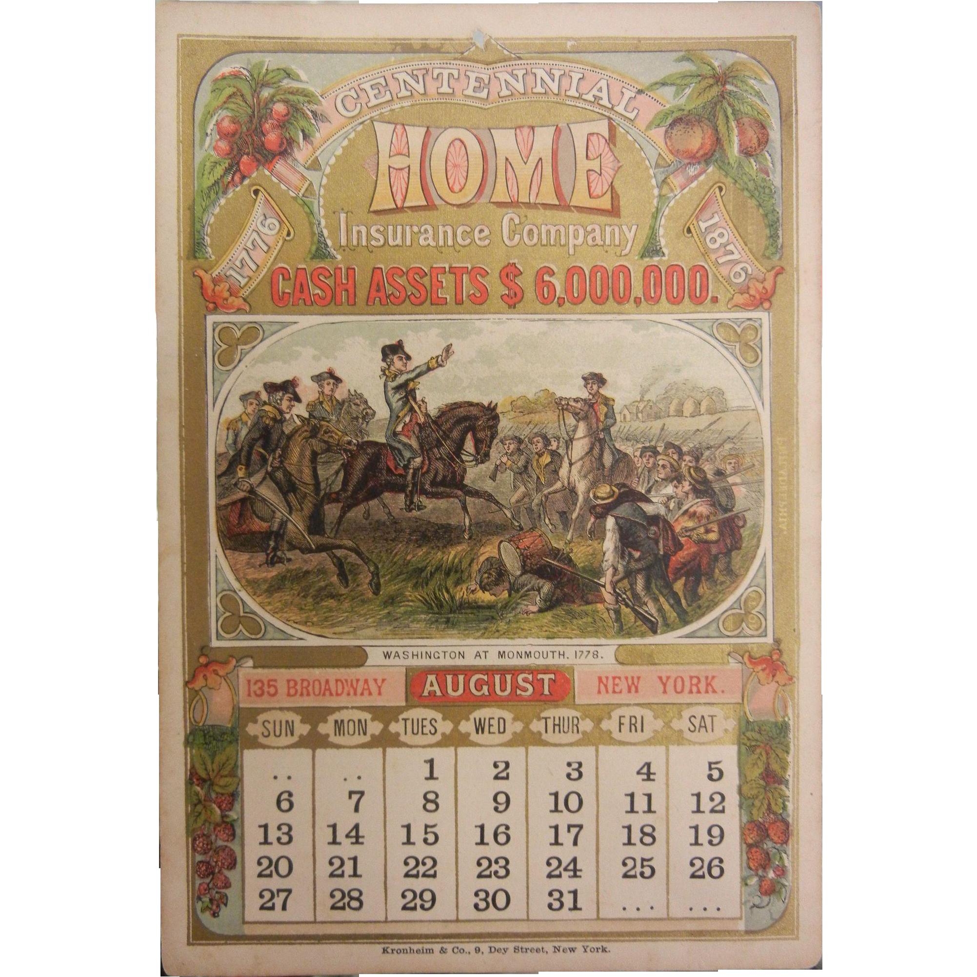 Vintage Centennial Home Insurance Advertisement Calendar