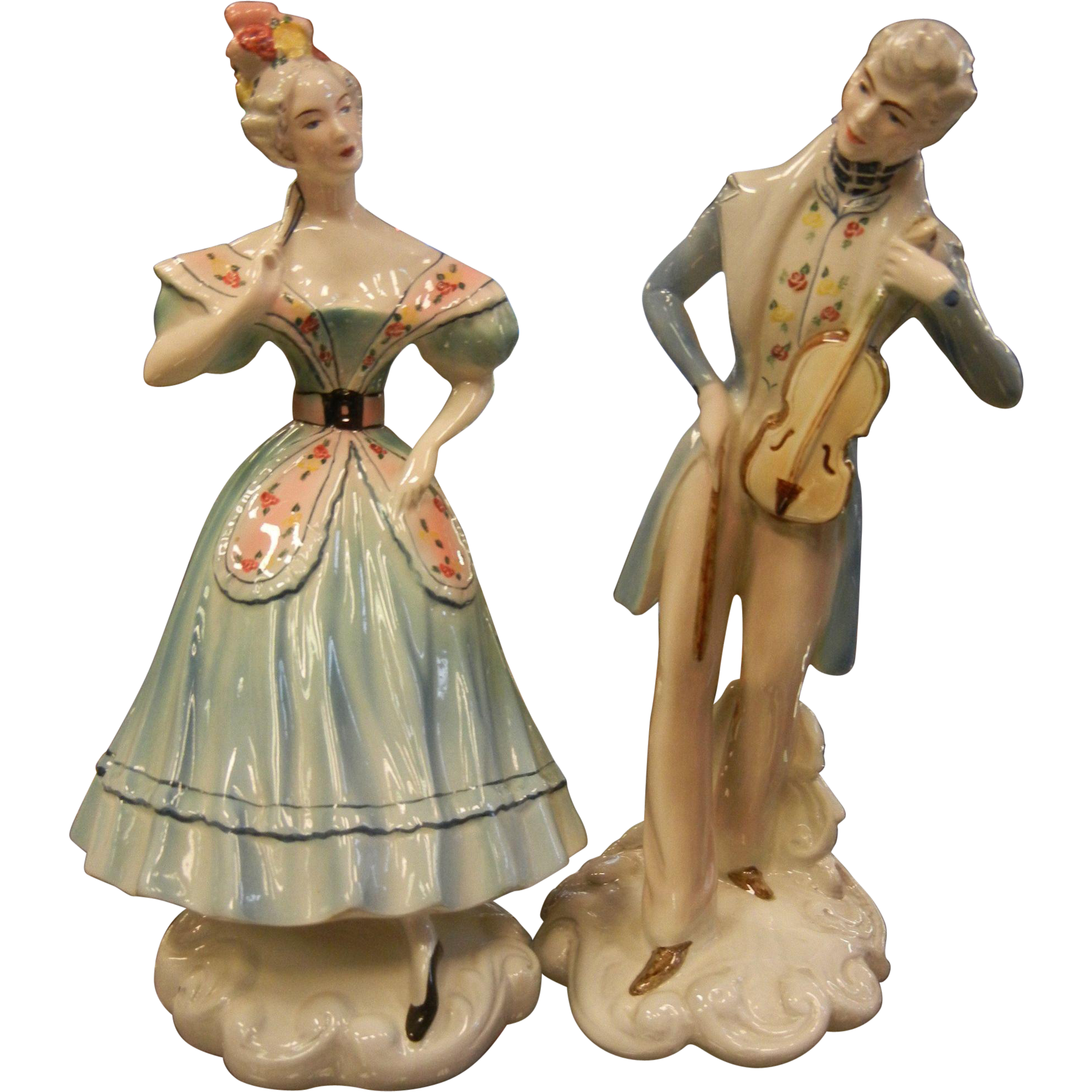 Fabulous Pair of Porcelain Figurines by Goldscheider USA