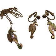 Vintage Hand Carved Natural Abalone Seahorse Pendent Necklace & Clip Earrings