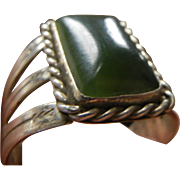 Vintage Engraved Sterling Silver Ring w/ Natural Green Stone