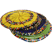 Set of 3 Hand Native American Beaded Disks - Blue, Green, Yellow