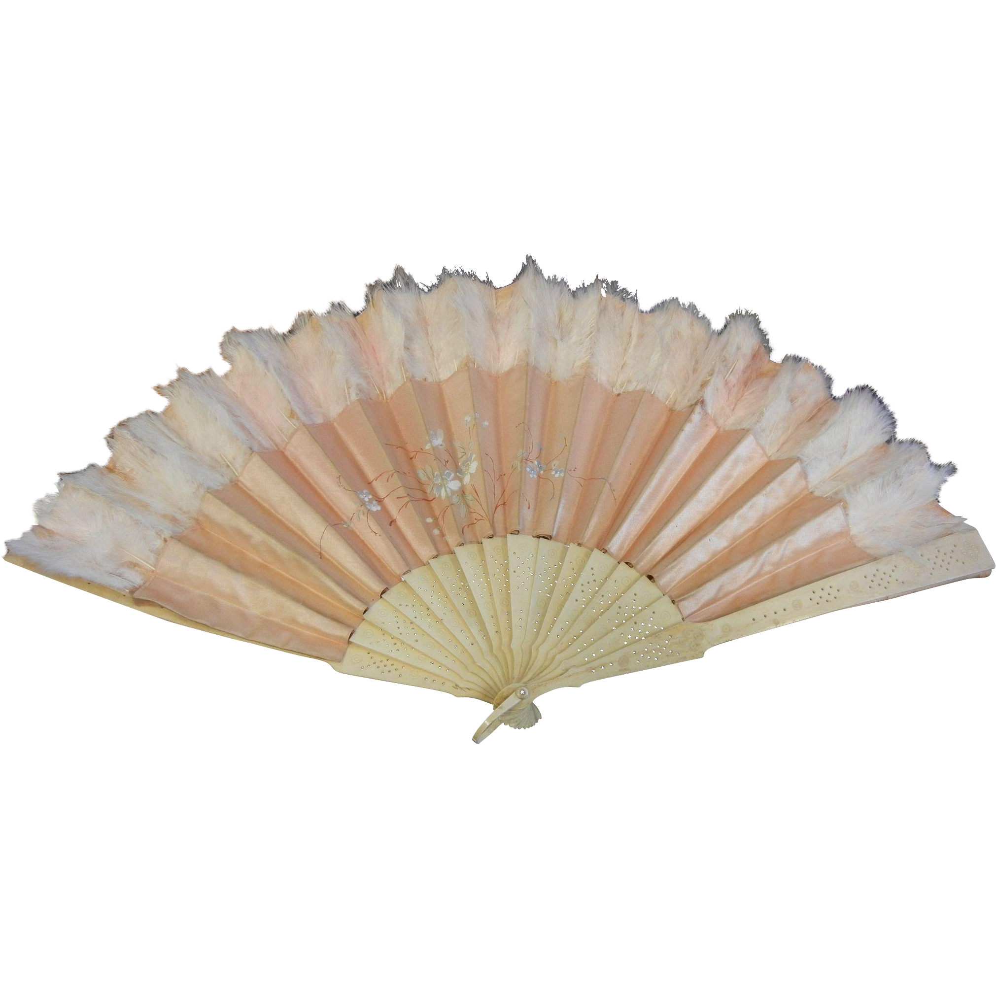 Old Silk Fan w/ Bone Handle