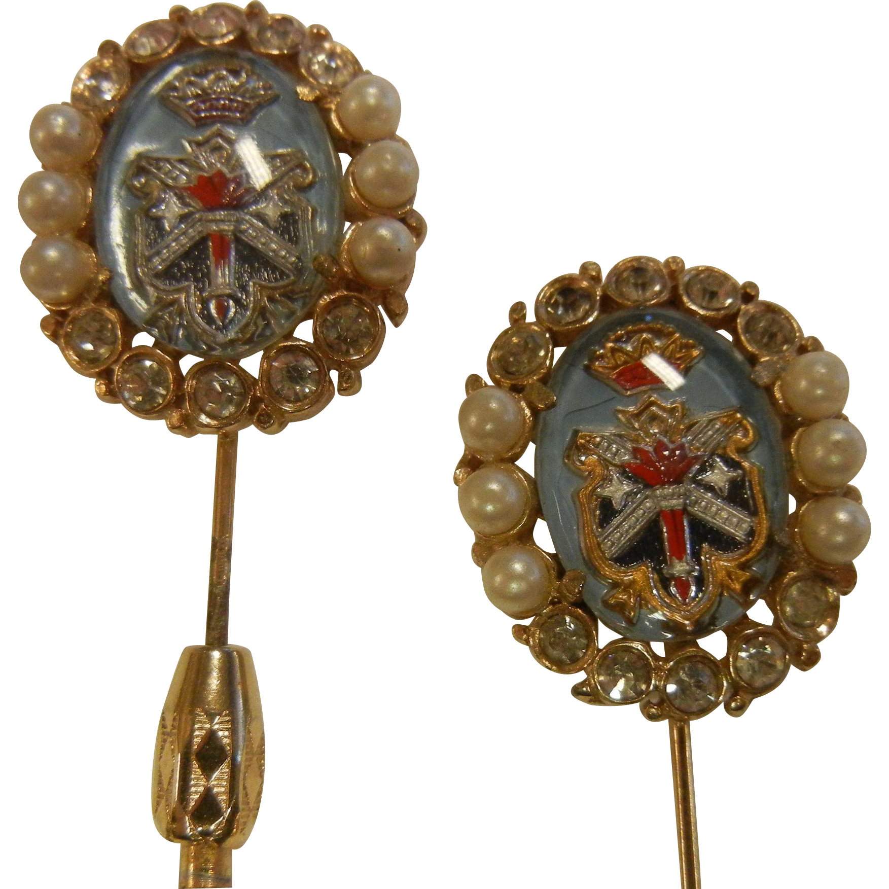 Vintage Pair of Stick Pins w/ Intaglio Glass Cabochons