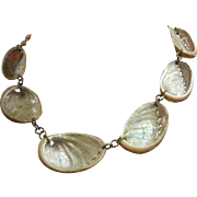 Vintage One of a Kind Natural Oyster Shell Necklace