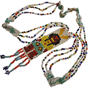 Vintage Hand Beaded Native American Necklace