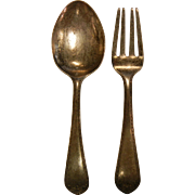 Vintage Sterling Silver Child's 'Treasure' Fork & Spoon Set