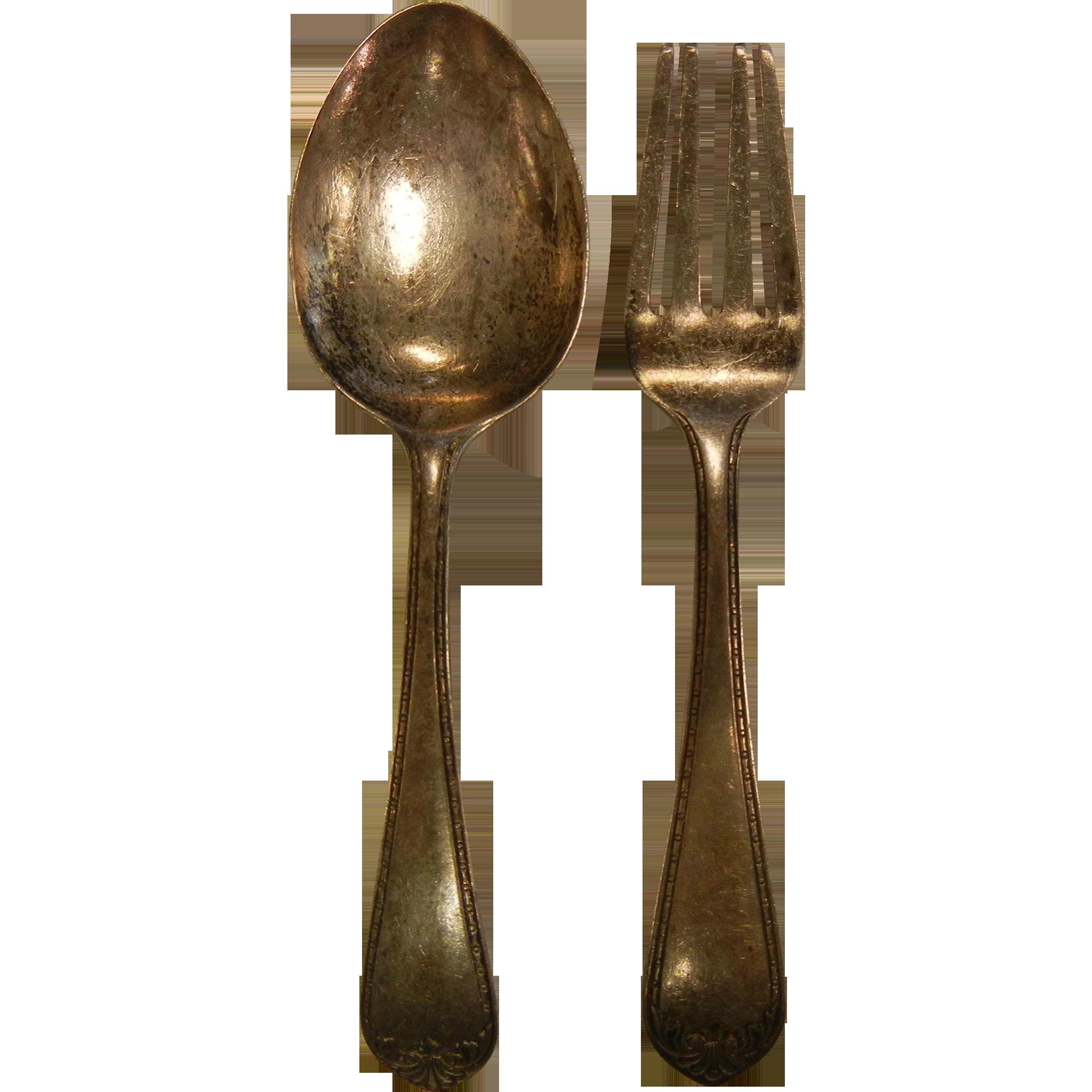 Vintage Sterling Silver Child's 'Treasure' Fork & Spoon Set