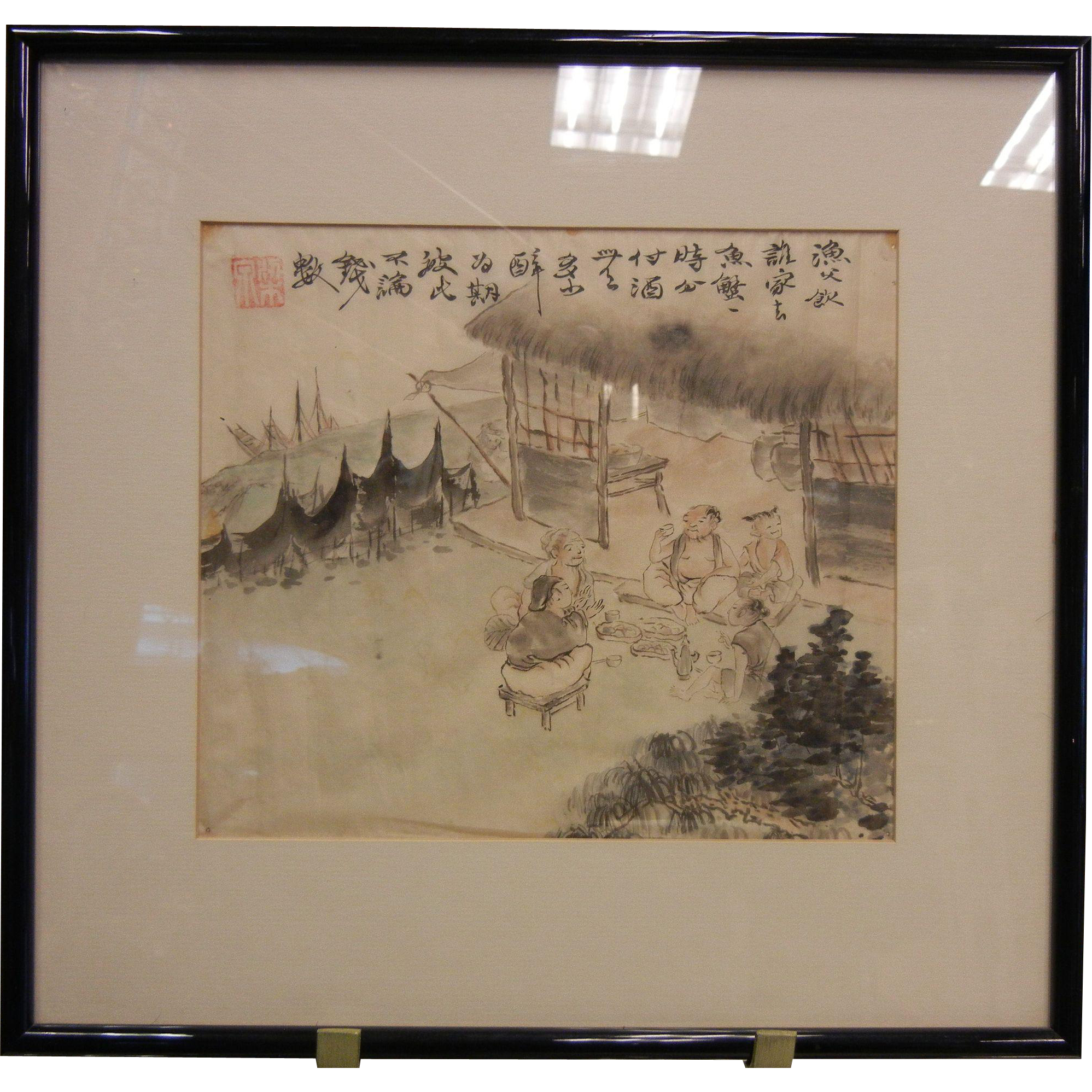 Framed Vintage Chinese Watercolor Painting On Silk From