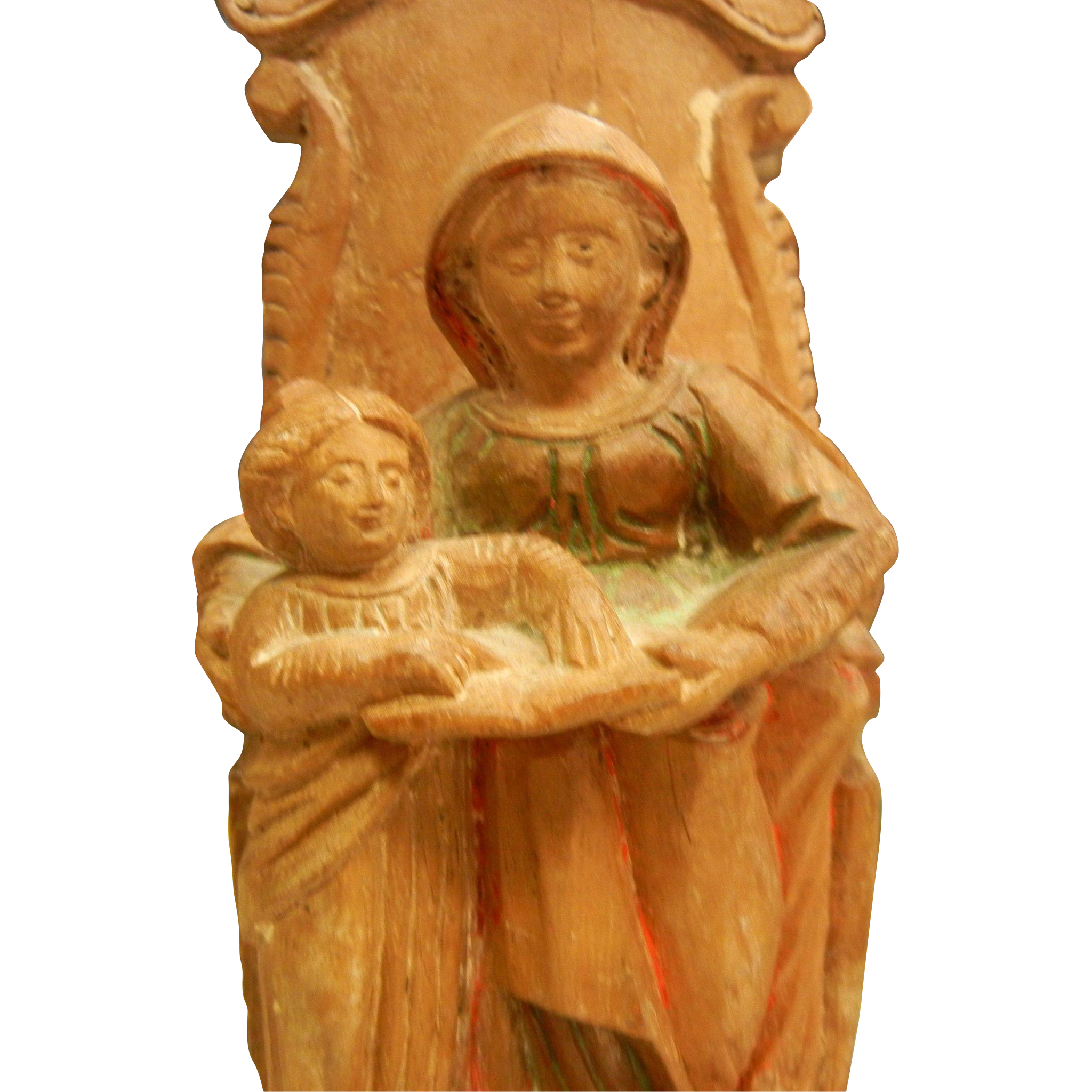 Vintage Hand Carved Wooden Mother & Child on Throne