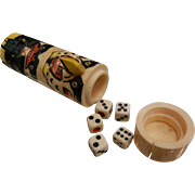 Vintage Hand Carved Tlingit Bone Totem Pole Dice Game Box