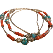 Double Strand Necklace w/ Sterling Silver, Coral & Turquoise Beads