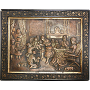 Intricate Antique Victorian Metal Relief Picture of Boudoir Living Room Scene