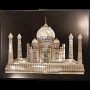 Vintage Taj Majal U.P. India Black Marble Plaque w/ Mother of Pearl Inlay
