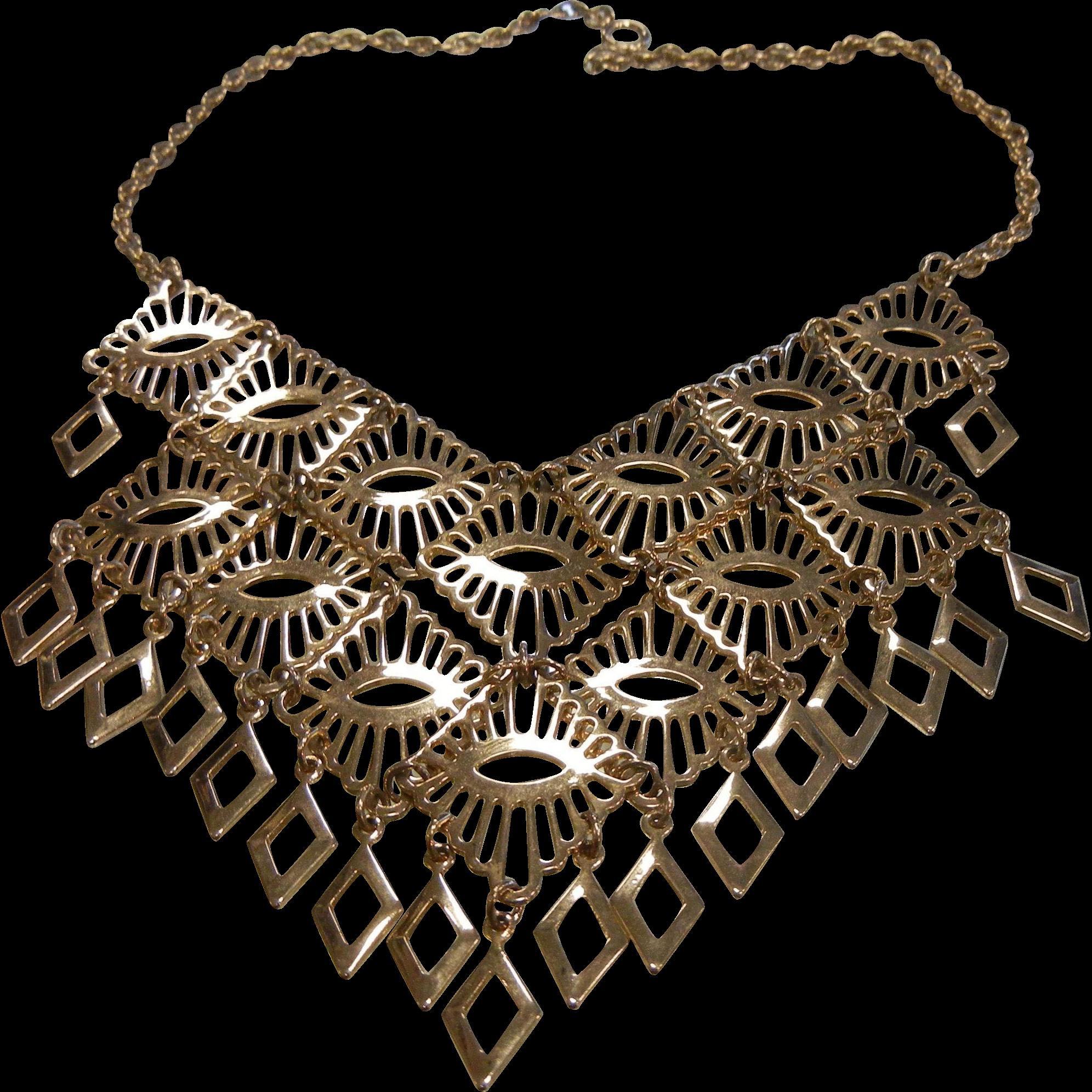 Vintage Mid Century Gold-Tone Bib Necklace