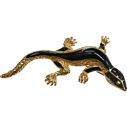Vintage TRIFARI Black & Gold-Tone Lizard Brooch