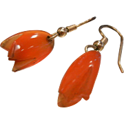 Vintage Chinese Carnelian Carved Tulip Bead Earrings