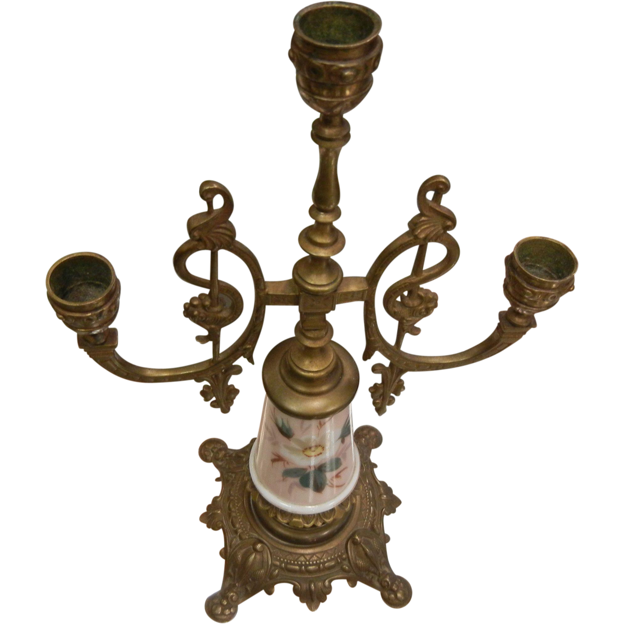 Antique Wave Crest Bronze Trio Candelabra