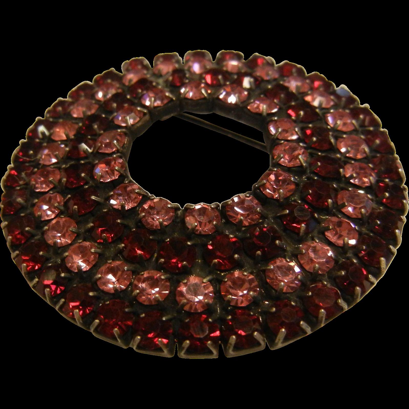 Vintage Pink & Red Rhinestone Brooch