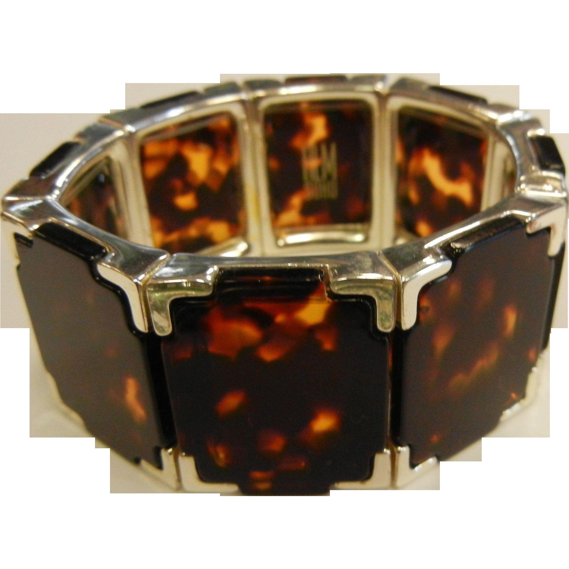Modern Stretch Bracelet w/ Framed Faux-Tortoise Links