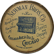 Vintage Advertising Mirror for Newman Bros. Co. Pianos & Organs