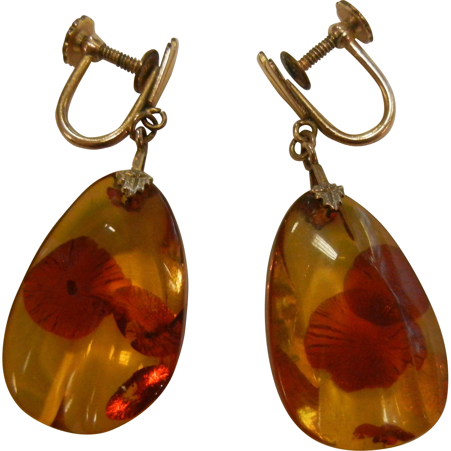 12K Gold Filled Screw-Back Earrings w/ Natural Polished Amber