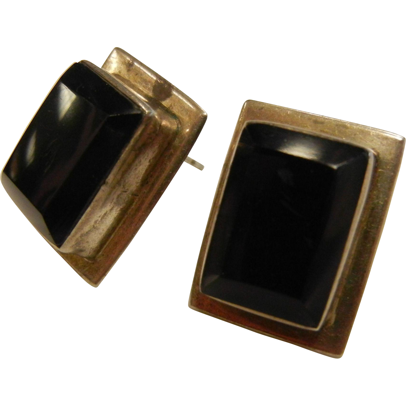 Vintage Sterling Silver Earrings w/ Faceted Black Glass