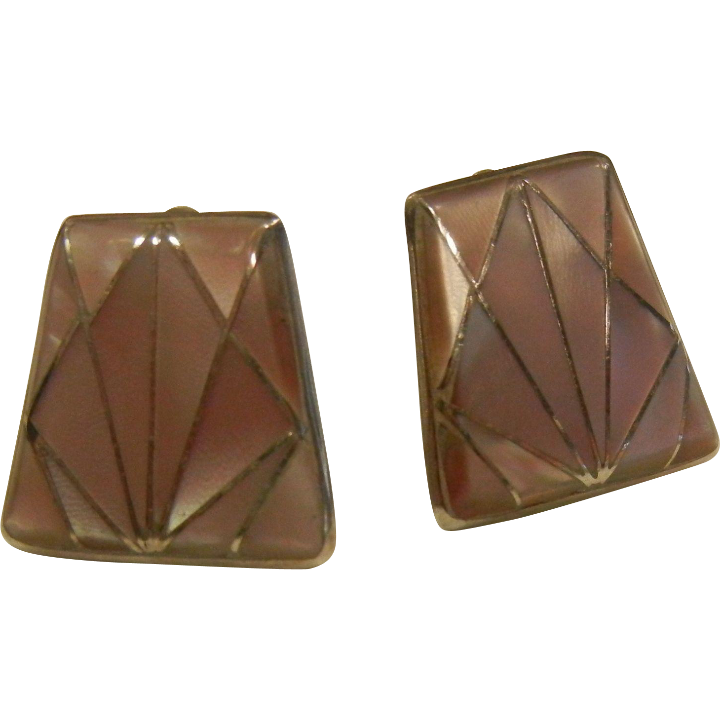 Vintage Geometric Clip Earrings w/ Inlaid Pink Mother of Pearl