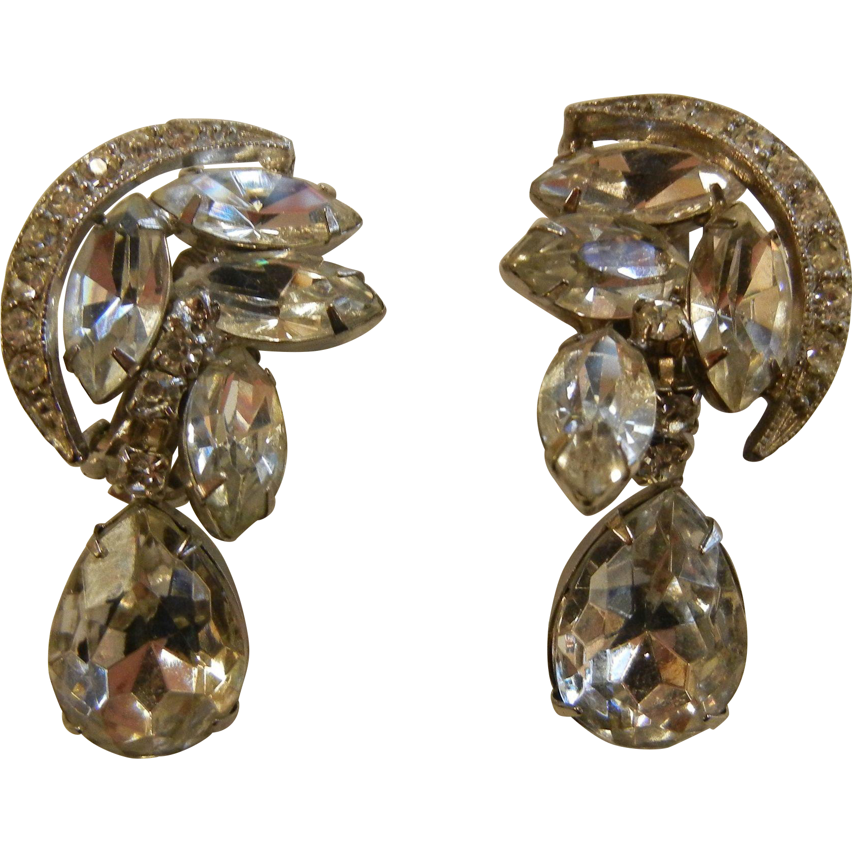 Vintage Costume Jewelry Clip Earrings w/ Clear Rhinestones Crescent Moon