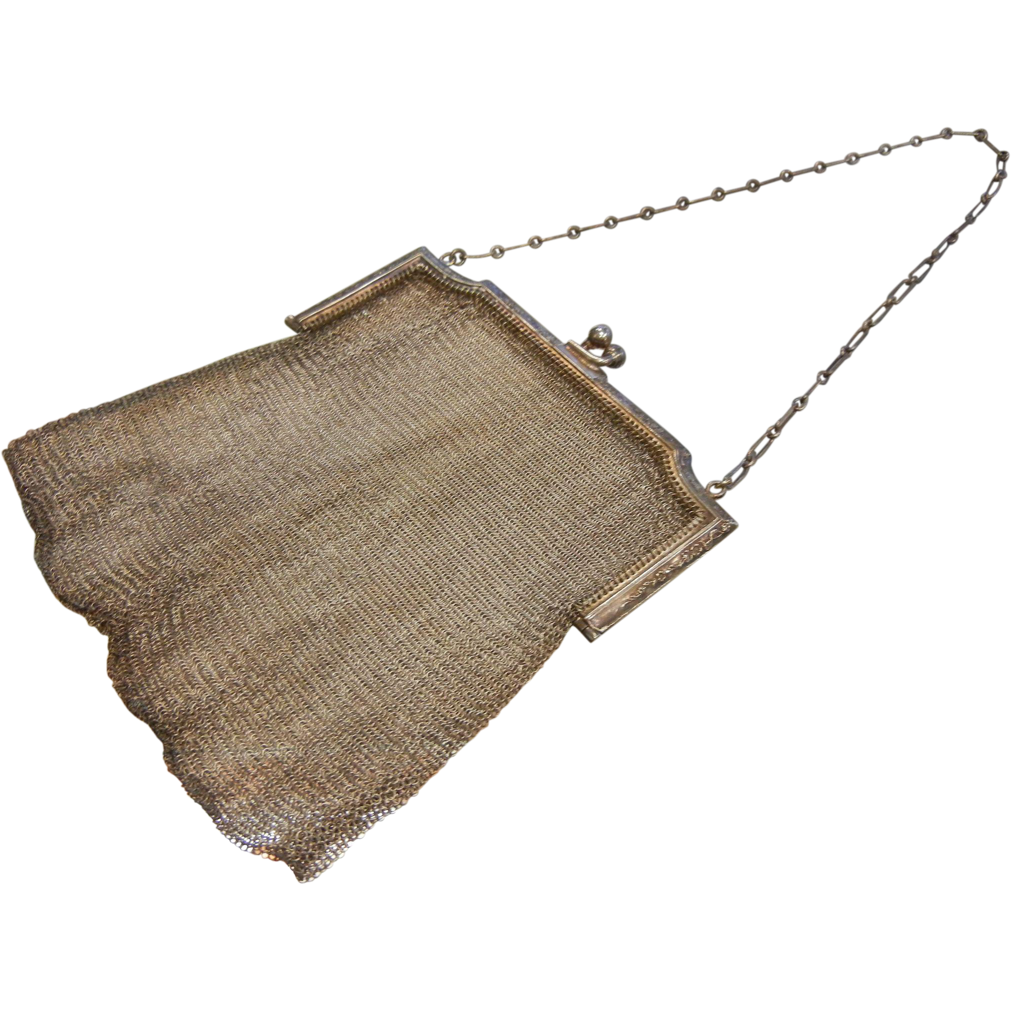 Fine Antique Sterling Silver Mesh Hand Bag