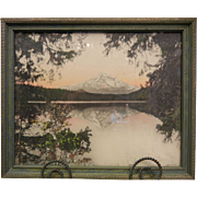 Framed Vintage Original Signed Colorized Photograph - Mt. Hood from Lost Lake