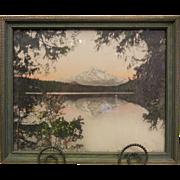 Framed Vintage Original Signed Colorized Photograph - Mt. Hood from Lost Lake